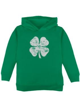 St. Patricks Day Distressed Shamrock Toddler Hoodie Green 2T