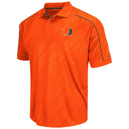 Miami hurricanes ncaa men 39 s sleet short sleeve polo for Embroidered polo shirts miami