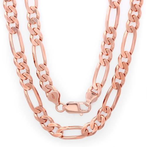 Sterling Essentials 14k Rose Gold over Silver 7.5mm Diamond-cut Figaro Chain 30 inches