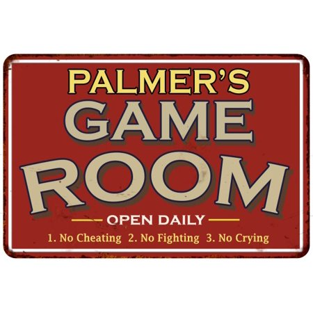 Personalized Girls Room Signs - PALMER'S Game Room Personalized Sign Vintage Look 8 x 12 High Gloss Metal 208120001341