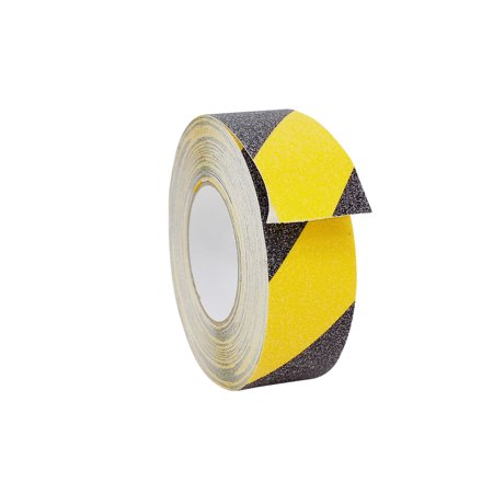 WOD NST-20C Strong Grip Anti Slip Tape Safety Track Black and Yellow - 2 inch x 60 ft. - 60 Grit Non Skid Weather Proof Indoor & Outdoor Traction Tape No Slip (Available in Multiple