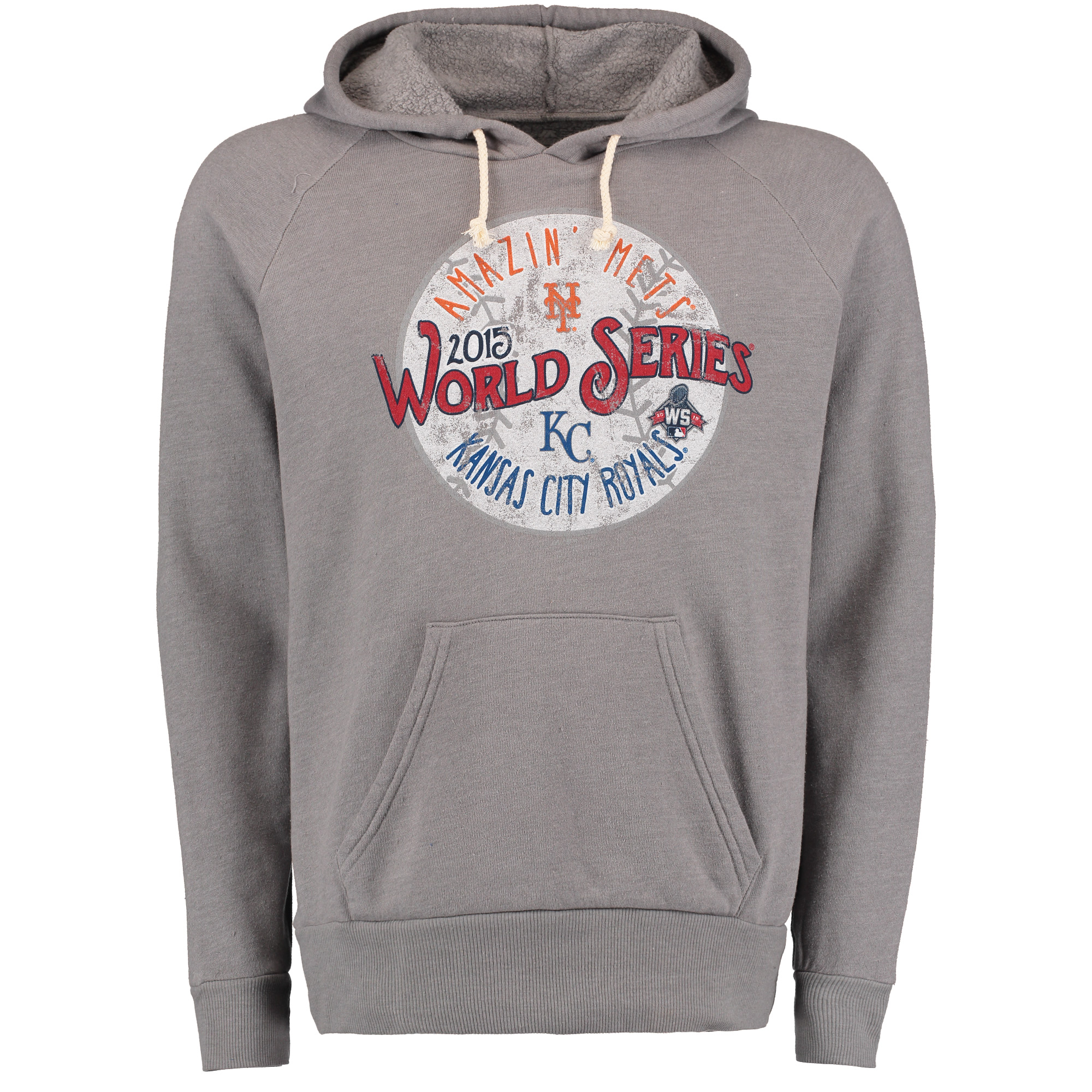 Men's Majestic Threads Gray New York Mets vs. Kansas City Royals 2015 World Series Bound Dueling Pullover Hoodie