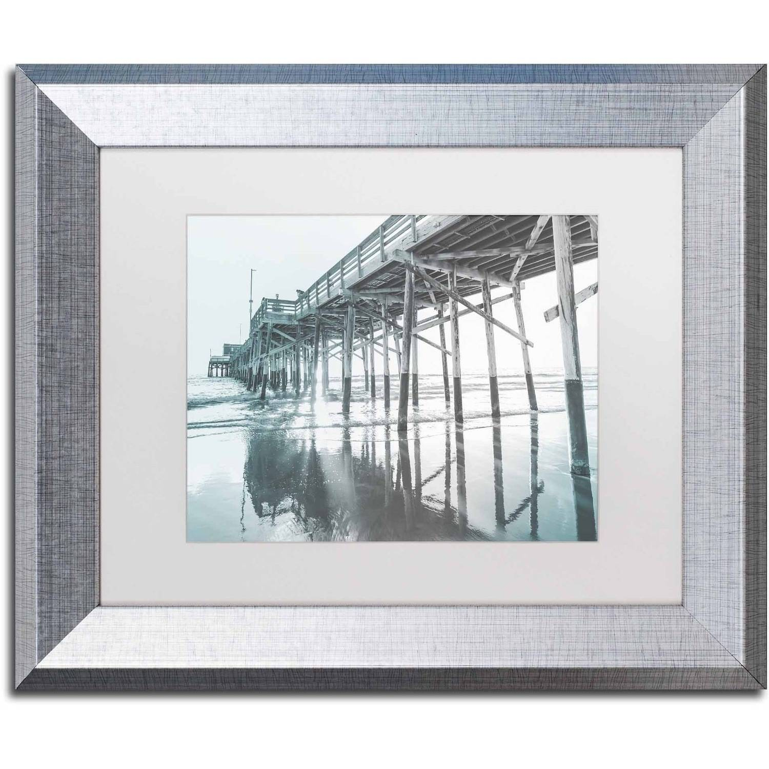 Trademark Fine Art 'Blue Pier' Canvas Art by Ariane Moshayedi, White Matte, Silver Frame