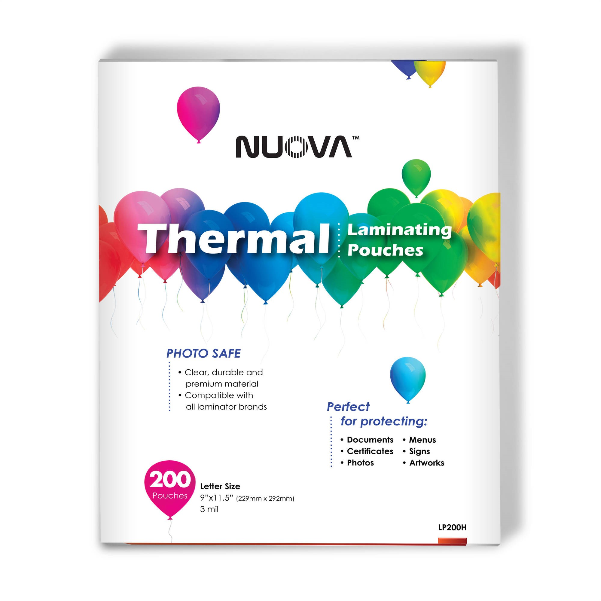 """Nuova Premium Thermal Laminating Pouches, 9"""" x 11.5"""", 3 mil, 200-Pack"""