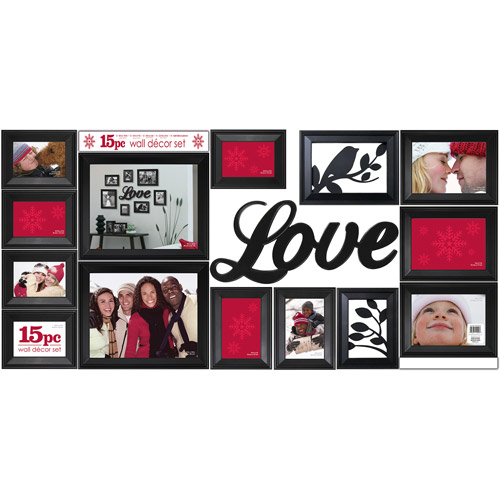 "Braid 15pc ""Love"" Frame Set with Art, Black"