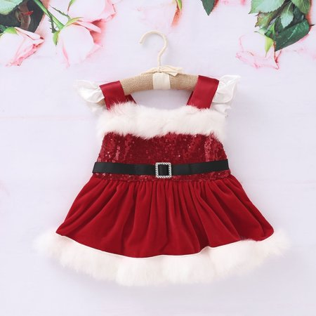 Fashion Cute Christmas Newborn Baby Girl Princess Sequined Fluffy Dress Hot