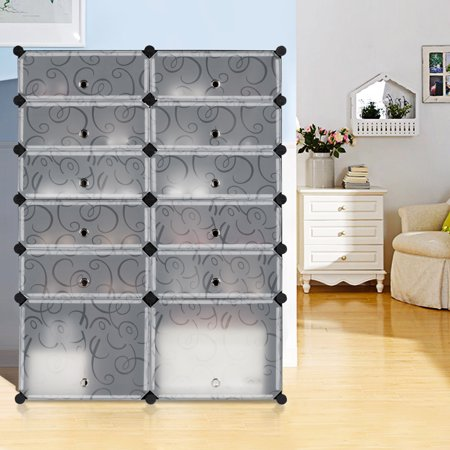 LANGRIA 12-Cube DIY Shoe Rack, Multi Use Modular Organizer Storage Plastic Cabinet with Doors, 10 Cubbies and 2 Big Cubes, Black and White Curly -