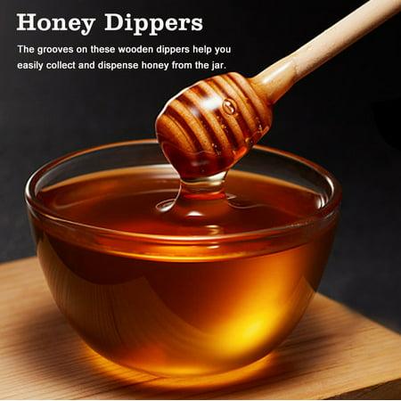 Yosoo 50pcs / set ménage en bois mini confiture miel louche jar distribution collecte bâton d'agitation bâton, louche de miel, bâtons en remuant - image 2 de 8