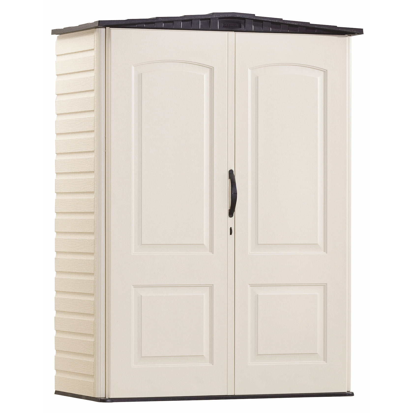 Rubbermaid 5 x 2 ft Small Vertical Storage Shed, Sandstone & Onyx by Rubbermaid Home Products