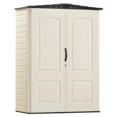 - Rubbermaid 5 x 2 ft Small Vertical Storage Shed, Sandstone & Onyx