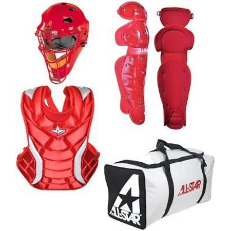 All Star CKW14.5PS Fastpitch Softball Catcher's Gear Kit, ADULT, Scarlet All Star Catchers Gear