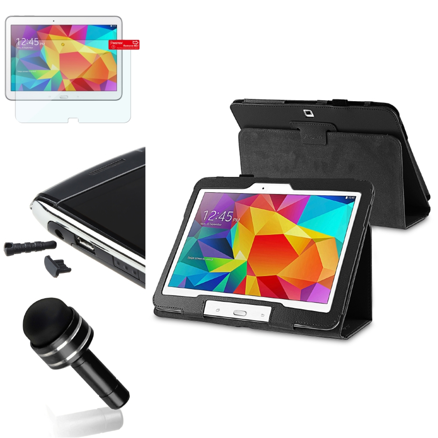 Insten Black Leather Stand Case Protector/Stylus/Cap For Samsung Galaxy Tab 4 10.1 SM-T530NU