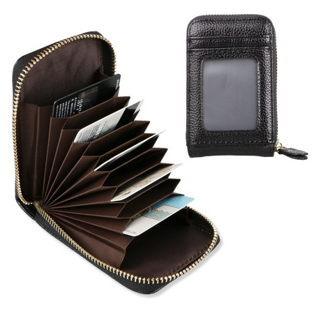 Leather Credit Card Wallet with Zipper, EEEKit Genuine Leather Credit Card Holder with RFID Blocking Small Accordion (Credit Card Services For Small Business Owners)