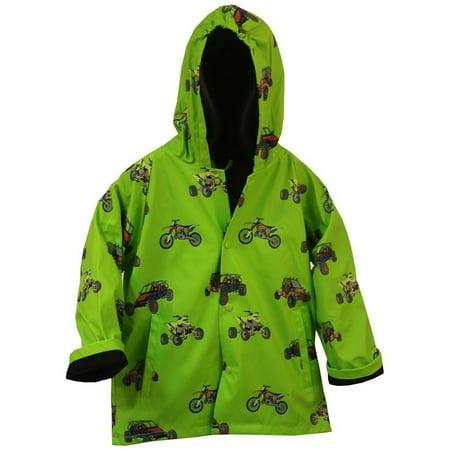 Green Raincoat - Foxfire Little Boys Green Sand Toys Print Hooded Trendy Raincoat 1T-6