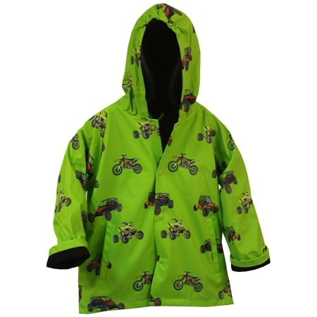 Green Boys Raincoat (Foxfire Little Boys Green Sand Toys Print Hooded Trendy Raincoat)