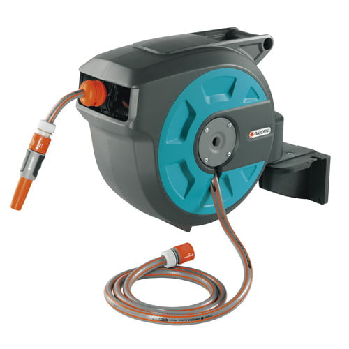 Gardena Plastic Wall-Mounted Hose Reel with Automatic Rewind by Blue Coral