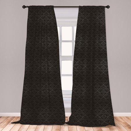 Dark Grey Curtains 2 Panels Set, Black Damask and Floral Elements Oriental Antique Ornament Vintage, Window Drapes for Living Room Bedroom, Black Grey, by Ambesonne Imperial Damask Antique