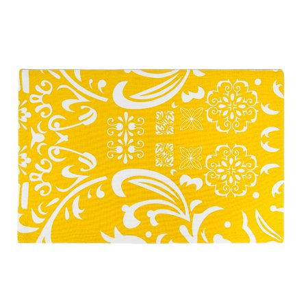 Mustard Yellow   White Vintage Royalty Placemats 4 Pack