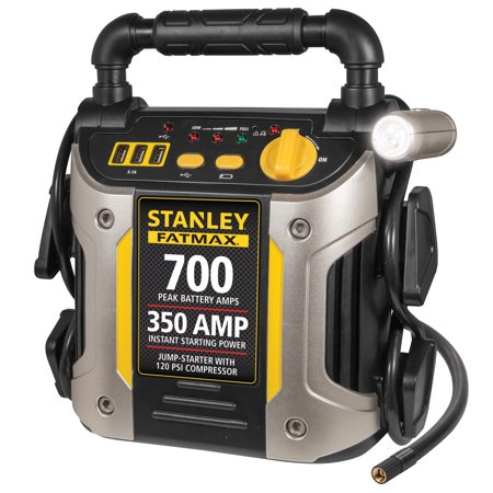 STANLEY FATMAX 700/350 Amp Jump Starter w/120 PSI Compressor (Ultimate Speed Portable Jump Starter With Power Bank)