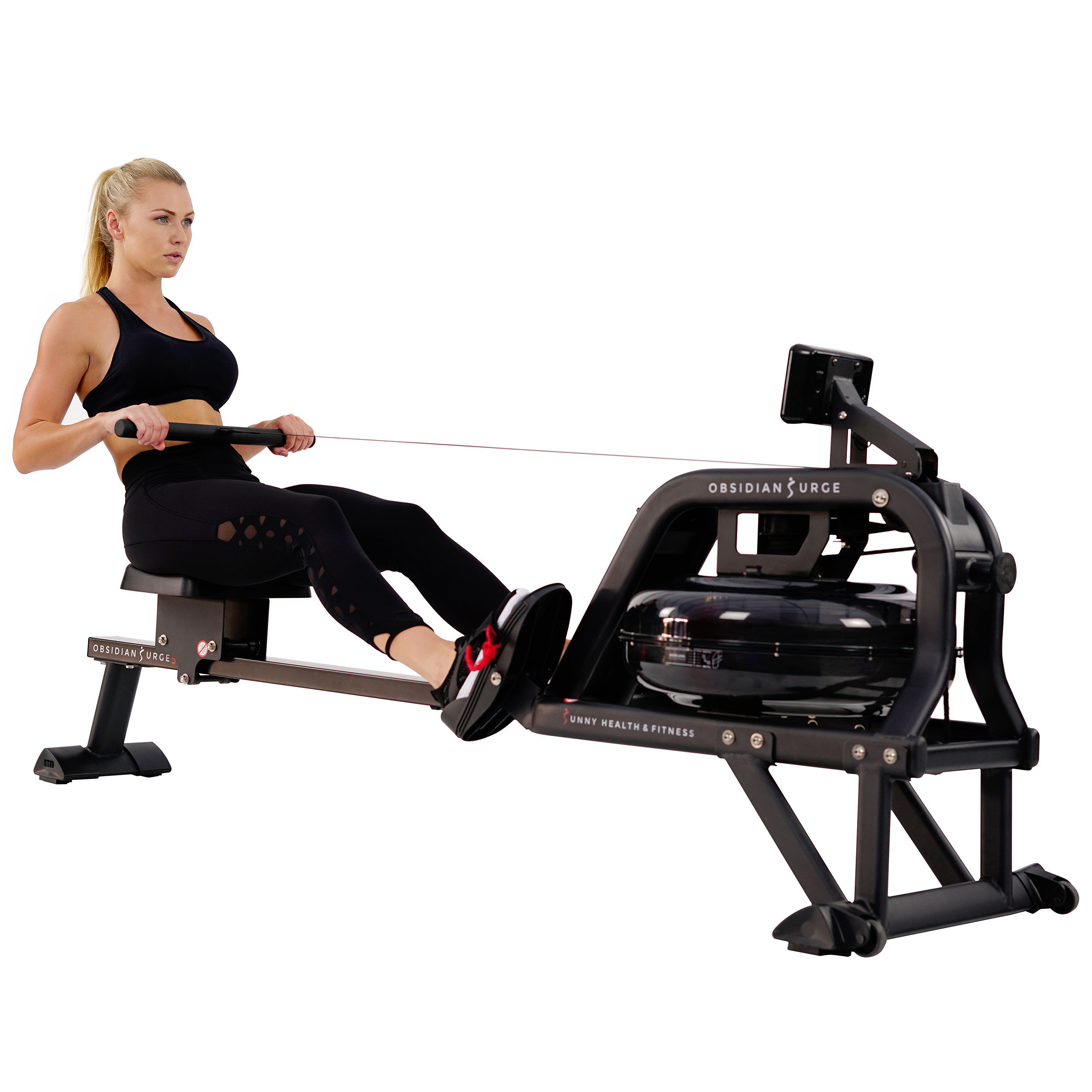Sunny Health & Fitness Obsidian Surge Water Rowing Machine SF-RW5713