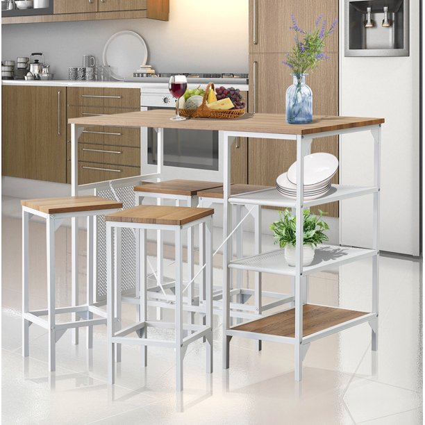 5 Pcs Pub Table Set Modern Kitchen Table Set Wooden Small Dining Table Set With Storage Shelf Space Saving Dining Room Table And Chairs Set For Bar Breakfast Nook Living Room Ja1889 Walmart Com
