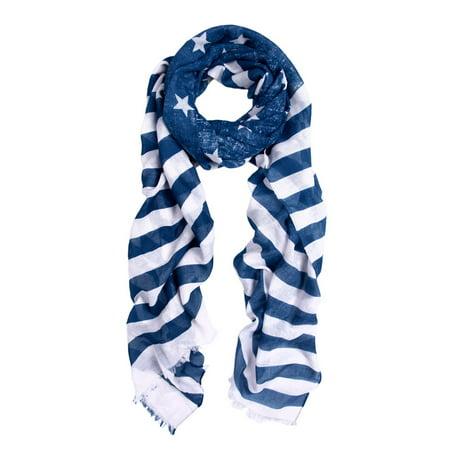 Navy Blue Stars & Stripes Vintage USA American Flag Style Scarf