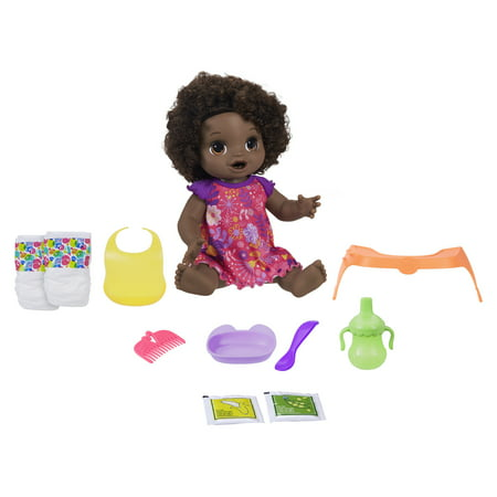 Baby Alive Happy Hungry Baby Black Curly Hair, 50+ Sounds, Eats, Drinks