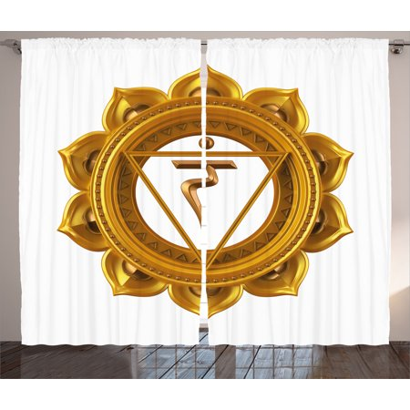 (Chakra Decor Curtains 2 Panels Set, Chakra Symbol in Flower Rounded Original Design Spiritual Power Life Force Image, Window Drapes for Living Room Bedroom, 108W X 84L Inches, Gold, by Ambesonne)