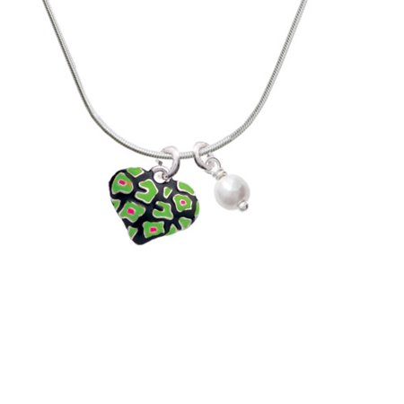 Lime Green Cheetah Print Heart - Imitation Pearl Bicone Crystal Necklace - Lime Green Zoot Suit
