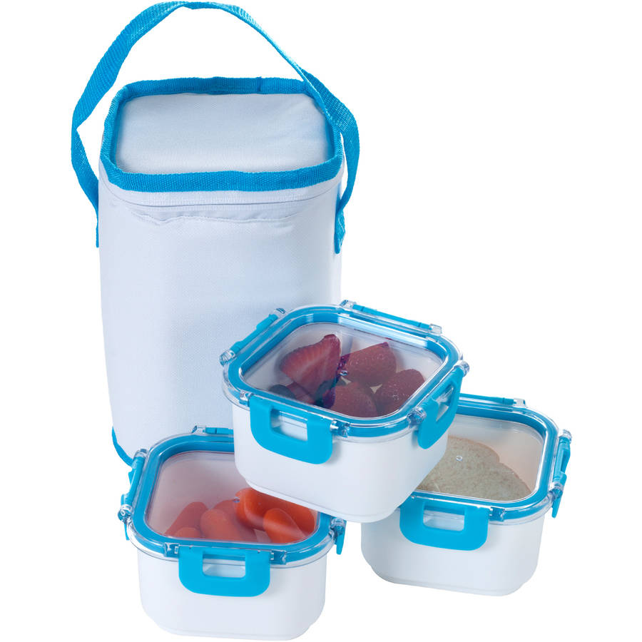 Classic Cuisine Portable 3-Piece Food Storage Set with Insulated Bag