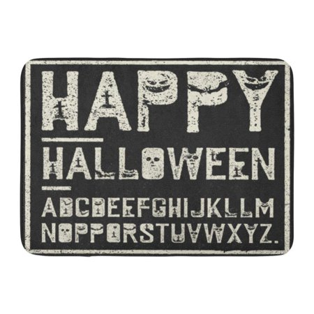 GODPOK Black Creepy Happy Halloween Alphabet Grunge Stamp Letters with Scary Bats Graves Pumpkins White Horror Rug Doormat Bath Mat 23.6x15.7 inch (Alphabet Halloween)