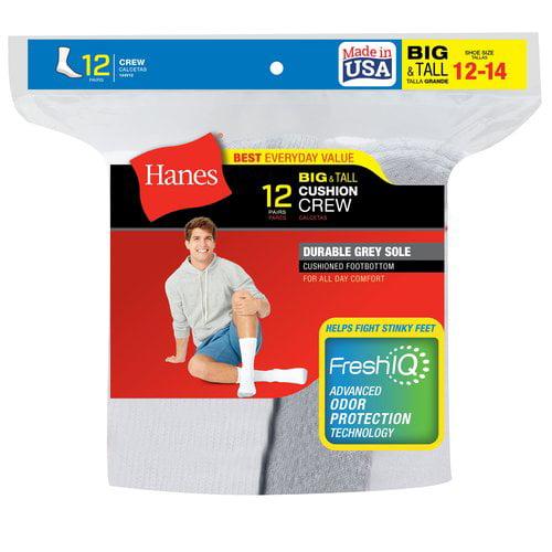 Hanes Men's 12 Pack Big & Tall Crew socks