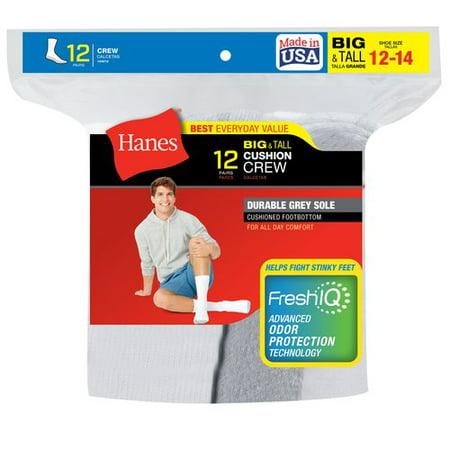 Hanes Mens Big & Tall Cushion FreshIQ Crew Socks 12-Pack