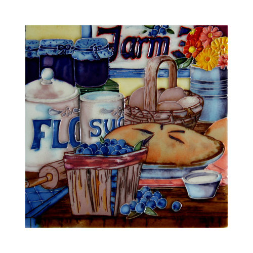 En Vogue B-319 Blueberry Pie and Fruit Basket - Decorative Ceramic Art Tile - 8 inch x 8 inch