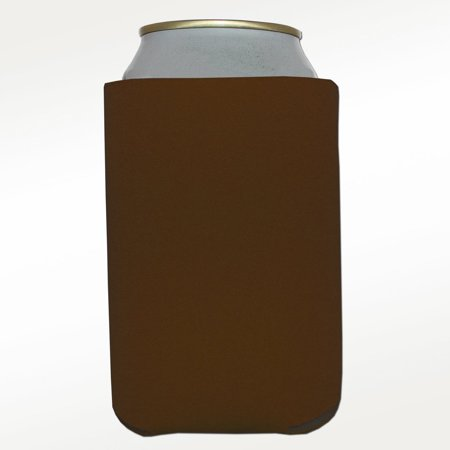 Six (6) Premium Blank Beverage Insulator Can Cooler for Soda and Beer (Brown), Polyurethane Foam Construction By Big Ol