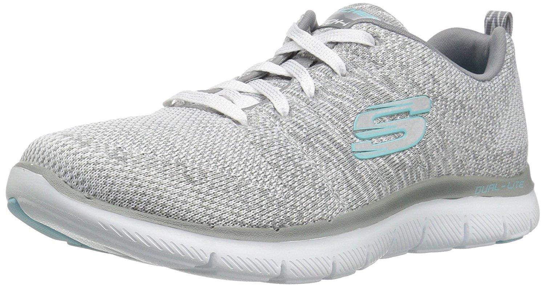Skechers Sport Women's Flex Appeal 2.0 Sneaker, White/Grey, 9 M US