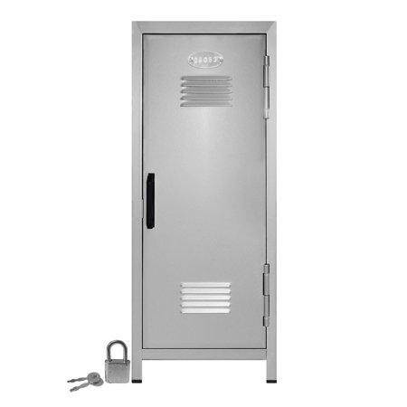 Mini Locker with Lock and Key Silver -10.75