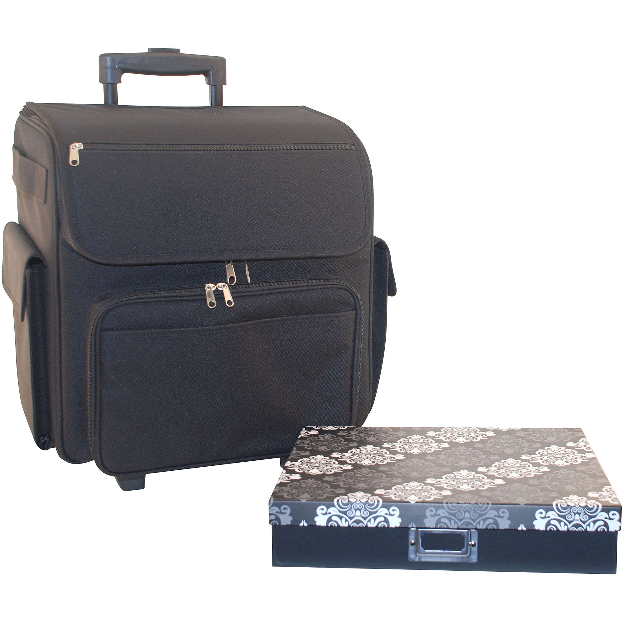 Everything Mary Rolling Scrapbook Tote with Paper Box, Black