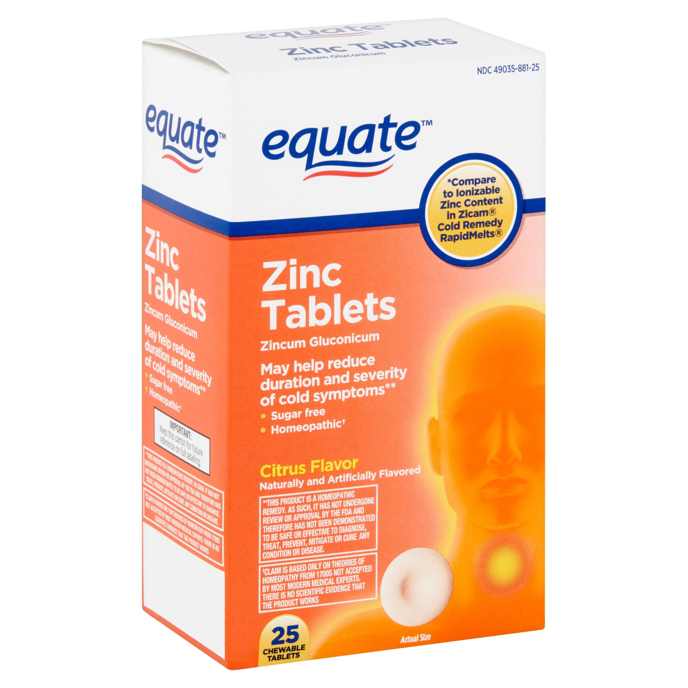 Equate Citrus Flavor Zinc Chewable Tablets 25 Count Walmart Com