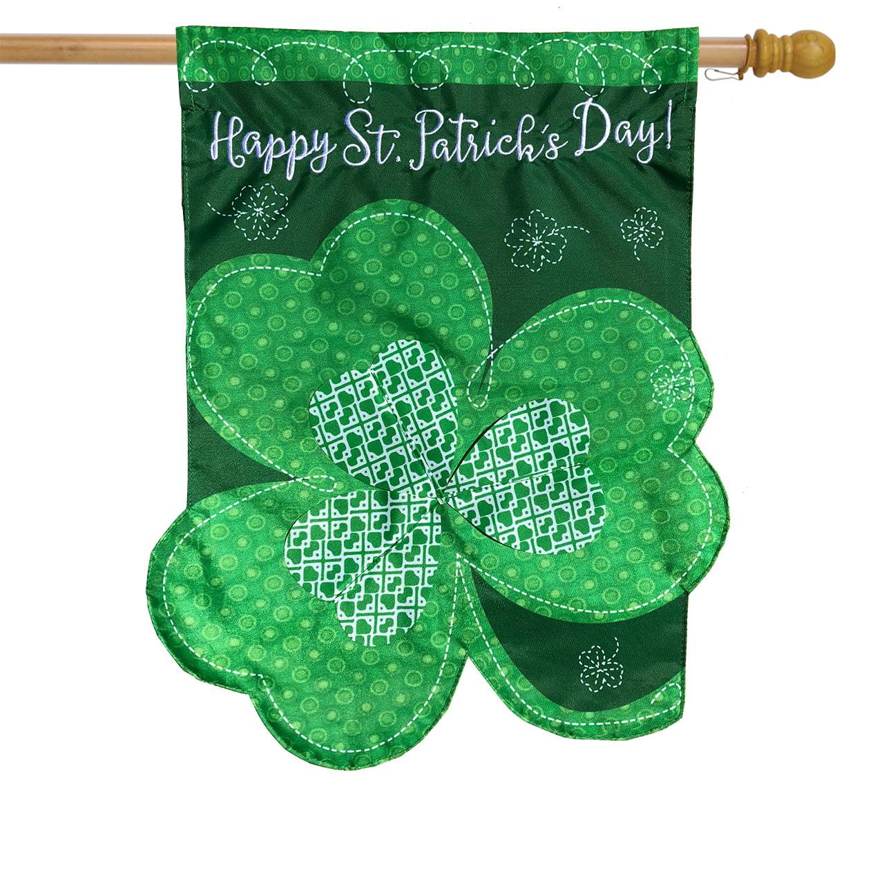 "Shamrock St. Patrick's Day Applique House Flag Clover Sculpted 28"" x 40"""