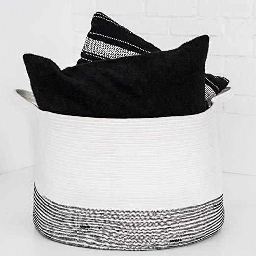 "Cotton Rope Woven Basket 2 Pack BasinCo Large Storage Basket XXL 20"" x 13"""