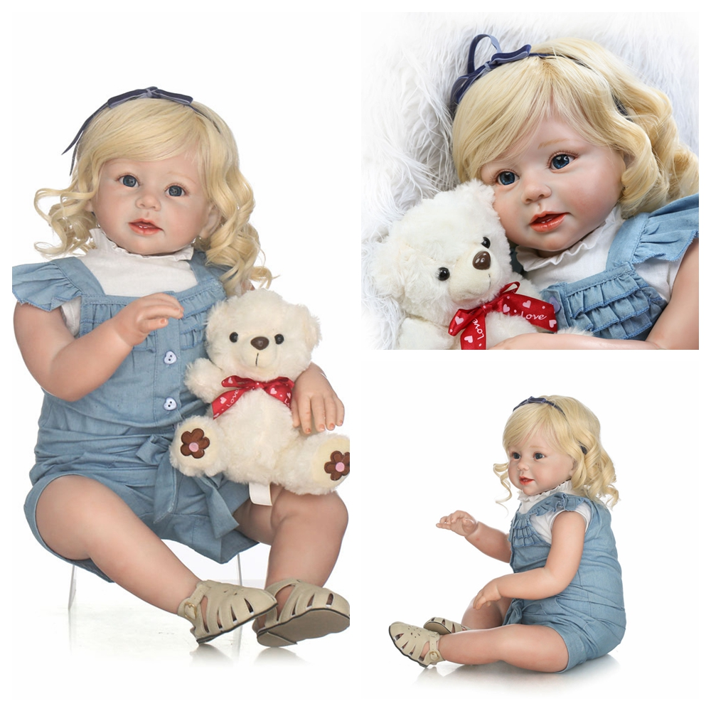 UBesGoo Collection Handmade Lifelike Reborn Toddler Baby Fashion Doll 28inch 70cm Real Touch Silicone Reborn Girl Blonde Hair for Kids Children's Gift