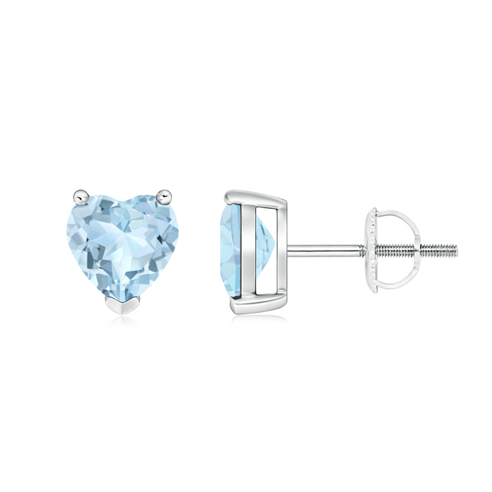 Angara Emerald Solitaire Heart Earrings in Platinum uYE7PCO