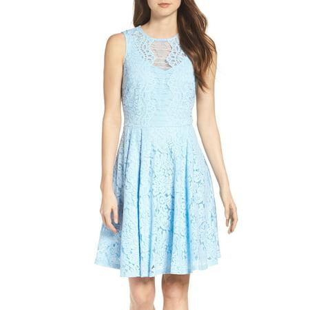 Ann Taylor Silk Dress (Julian Taylor Women's Sleeveless Lace Fit and Flare Dress )