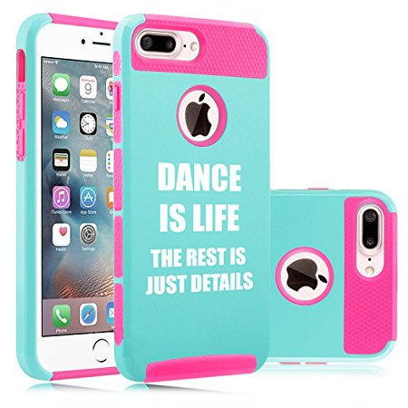 For Apple  Iphone 8 Plus  Shockproof Impact Hard Soft Case Cover Dance Is Life  Light Blue Hot Pink