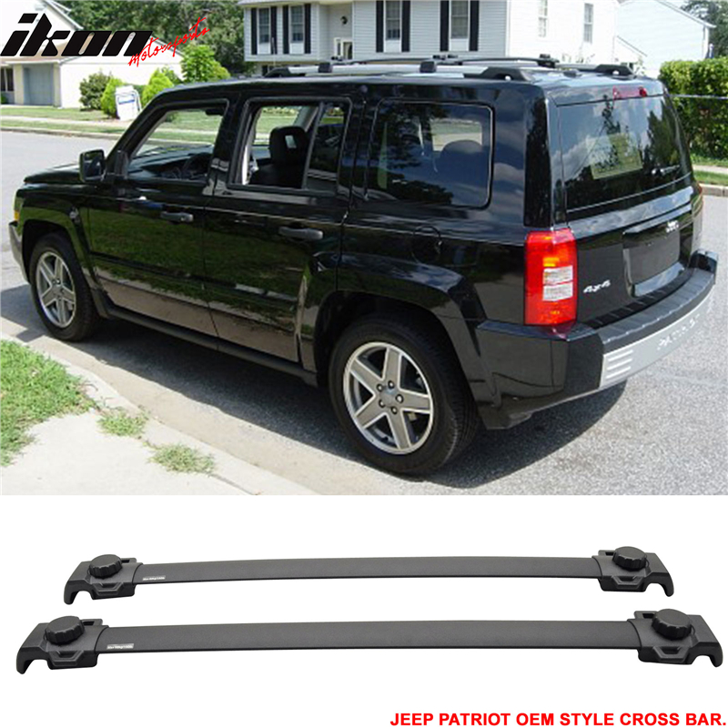 Fits 07-15 Jeep Patriot OE Factory Style Roof Rack Cross Bar Black Aluminum