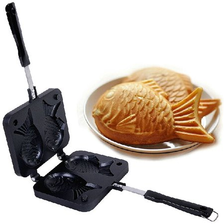 Smiling Juju Japanese Taiyaki Fish Shaped Cake Maker Waffle Pan Mold 2 Cast Bakeware Wtih 2 Sided Home DIY Cooking Food Bar Tool gift New
