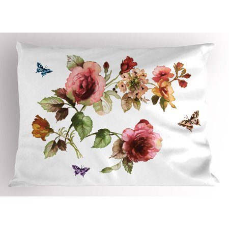 Flower Pillow Sham Shabby Chic Roses Buds Leaves Tulips Floral Details Butterfly Natural Eco Print, Decorative Standard Queen Size Printed Pillowcase, 30 X 20 Inches, Multicolor, by Ambesonne