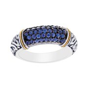 Phillip Gavriel 18k Gold & Sterling Silver Blue Sapphire Signet Ring, Size 6