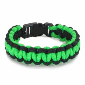 Knotty Boys 213 8 Diameter Medium Single Weave Black & Lime Green Survival Bracelet with Hand Tied KY213